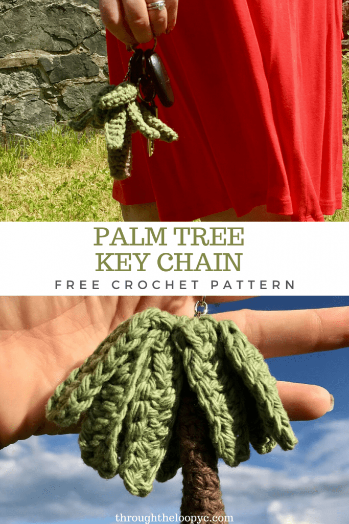 Palm Tree key Chain Free Crochet pattern. A quick and no-sew amigurumi pattern